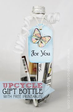 """Now here's a UNIQUE way to give a gift! Use a plastic soda bottle and fill it with small goodies! Great for giving a """"set"""" of items such as office supplies, makeup, jewelry etc. This is one case where the packaging will be remembered almost as much as the gift itself will!"""