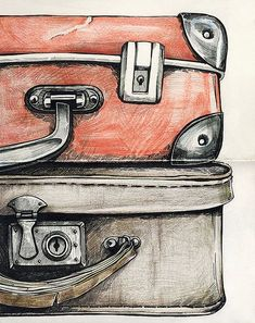 * travel drawing, bag illustration, drawing projects, drawing tips, paintin Drawing Sketches, Art Drawings, Drawing Tips, Sketching, Bag Illustration, Travel Drawing, Travel Scrapbook, Mail Art, Art Plastique