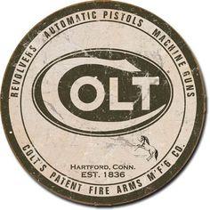Colt Round Logo   Tin   Metal   Sign   Nostalgic   Vintage   Retro   Firearms   A Simpler Time