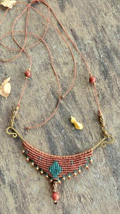 Macrame Tribal Necklace Bohemian Necklace Ethnic by CuraWay