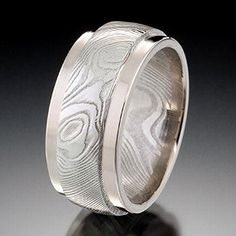 Storm's Eye Damascus with Pd White Gold Stepped Rails Damascus Ring, Damascus Steel, Meteorite Ring, Designer Engagement Rings, Wedding Ring Bands, Rings For Men, Fine Jewelry, Jewelry Design, White Gold