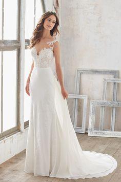Simple wedding dress idea - A-line wedding dress with lace bodice and chiffon skirt. Style 5503 by @morileewedding