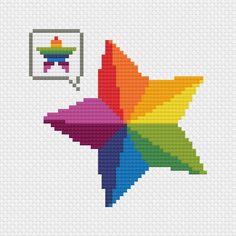 FREE Rainbow Star Cross Stitch Pattern by Stitchonomy