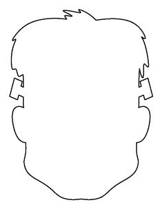 Frankenstein head pattern. Use the printable outline for crafts, creating stencils, scrapbooking, and more. Free PDF template to download and print at http://patternuniverse.com/download/frankenstein-head-pattern/