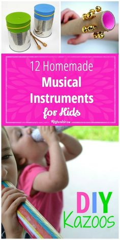 12 Homemade Musical Instruments for Kids Craft?<br> You don't have to spend a lot of money to introduce your children to simple musical instruments!Make your own instruments with supplies you have at home! Projects For Kids, Diy For Kids, Crafts For Kids, Toddler Crafts, Craft Projects, Music For Toddlers, Toddler Music, Kids Music, Homemade Musical Instruments