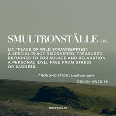 Smultronställe: A special place discovered, treasured, returned to for solace and relaxation, a personal idyll free from stress or sadness. (Swedish)
