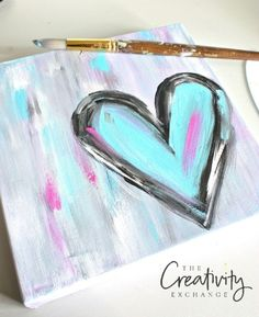 Tutorial for DIY Abstract Heart Painting. The Creativity Exchange