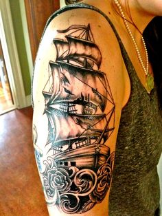 Ship Tattoo by Lou tattoo, CT
