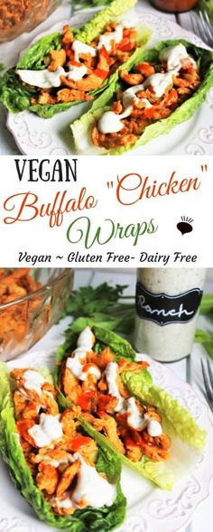 """This vegan buffalo chicken is gluten free and vegan but bursting with flavor! It's a """"meaty"""" protein packed meal that will satisfy even the biggest of appetites! Use this vegan buffalo chicken to make filling wraps, sandwiches, or lettuce wraps. thehiddenveggies"""