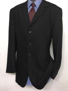 LINEAGE Mens Black Striped Suit Jacket 44L | Superior 150's 4 Button Sport Coat #Lineage #FourButton
