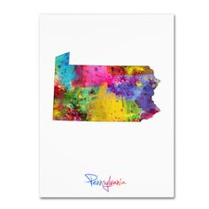 Pennsylvania Map by Michael Tompsett Graphic Art on Wrapped Canvas