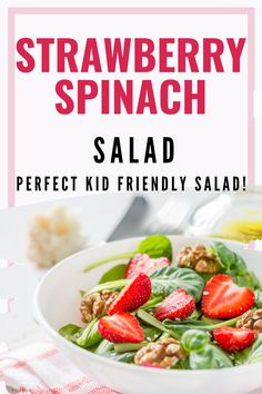This is the best strawberry salad ever! With bacon, cheese and the most amazing avocado dressing its a salad that the kids will actually eat and love!