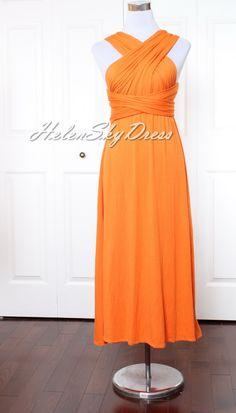 Bridesmaid Dress Wrap Convertible Dress orange by HelenSkyDress, $43.00