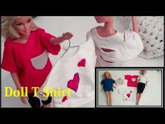 (DOLL CLOTHES) How to Make, Barbie Doll - T-Shirt - YouTube