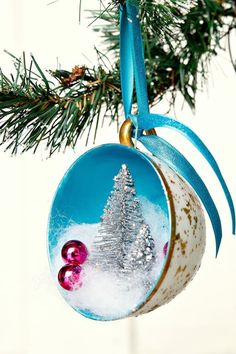 Teacup Christmas Tree Ornament With Metallic and Glitter paint