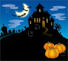 Illustration Of Haunted House With Pumpkins. Royalty Free ...
