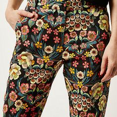Pink slim floral print trousers - printed trousers - trousers - women