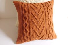 Terracotta Cable Knit Pillow Cover, Throw Pillow, Knit Pillow Case, Hand Knit Cushion Cover, 16X16 Decorative Couch Pillow