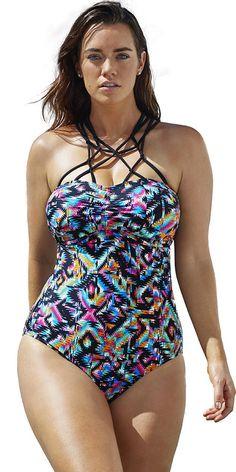 1824e105146 Fashion Bug Womens Plus Size Aztec One Piece www.
