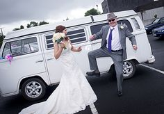 Father of the bride doing the Blues Brothers dance before the action starts in Patrickswell Church, Co. Limerick.