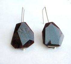 Large genuine garnet gemstone earrings, modern geometric, sterling silver, bold faceted drop, simple dark red gemstone, rare cut gemstone