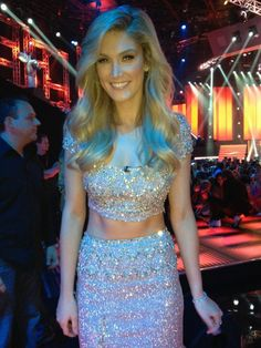 Delta Goodrem wearing a one off Collette Dinnigan gown to the Voice Australia finals.