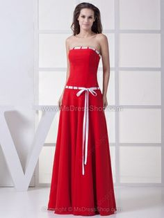 A-line Strapless Chiffon Floor-length Sashes / Ribbons Prom Dresses