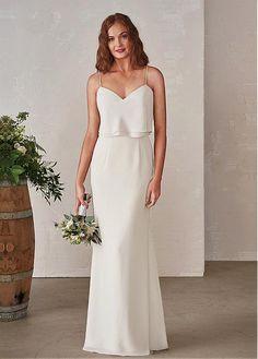Pure Chiffon Spaghetti Straps Neckline Full Length Sheath/Column Bridesmaid Dresses