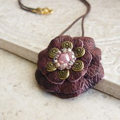 Ruffles Leather Flower Necklace in Berry Mist ❤ by Viridian on Etsy