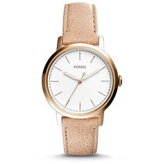 Fossil Neely Three-Hand Sand Leather Watch ($115) ❤ liked on Polyvore featuring jewelry, watches, leather wrist watch, fossil wrist watch, fossil watches, fossil jewelry and leather jewelry