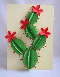 Cactus flor verde rojo 3D pinchos