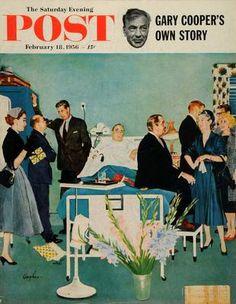 1956 Cover Saturday Evening Post Hospital Social Appendix Surgery Hughes Art