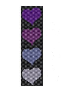 Purple Hearts Peyote Pattern - Purple and Lavender peyote cuff pattern - Buy two patterns and get one free