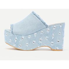 SheIn(sheinside) Raw Trim Denim Mule Wedges ($34) ❤ liked on Polyvore featuring shoes, blue, platform wedge shoes, peep toe wedge shoes, peep-toe shoes, chunky platform shoes and mule shoes