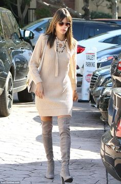 Natural beauty: The Brazilian bombshell wore her brunette locks down in a sleek and straight style, with her fringe skimming above her eyes, and she appeared to go make-up free Alessandra Ambrosio, Dresses With Leggings, Grey Shoes, Thigh High Boots, Suede Boots, Thigh Highs, Runway, Ladies Style, Womens Fashion