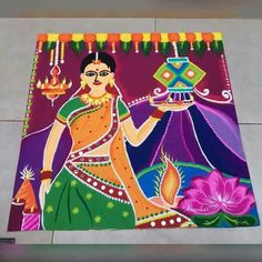 Diwali rangoli Rangoli Designs Peacock, Indian Rangoli Designs, Rangoli Designs Latest, Latest Rangoli, Rangoli Border Designs, Colorful Rangoli Designs, Rangoli Ideas, Rangoli Designs Images, Beautiful Rangoli Designs