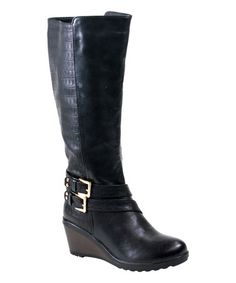 Another great find on #zulily! Black Scale Macy Wedge Boot by Reneeze #zulilyfinds