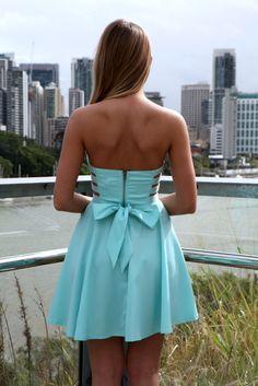 Blue Party Dress - Blue Strapless Cutout Side Dress | UsTrendy