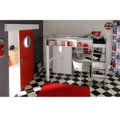 CHAMBRE COMPLETE INUIT Lit combiné mezzanine + bureau + armoire, 549,99€ C Discount