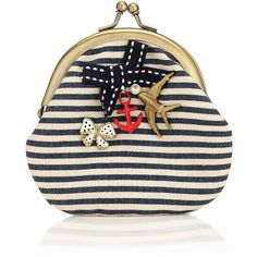Accessorize Nautical But Naughty Clip Frame Purse (86 EGP) ❤ liked on Polyvore featuring bags, purses and blue