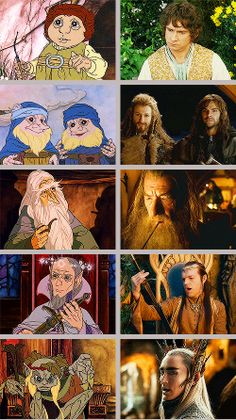 The Hobbit's 1997/2012-2014 comparisons. What the deuce is up with animated Thranduil??? He looks like Gollum!