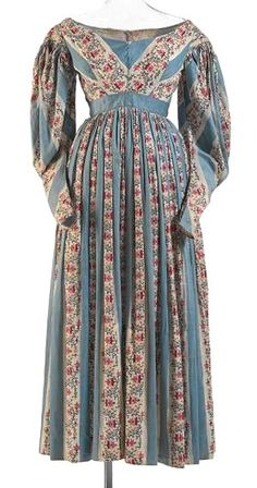 ca. 1836, Tageskleid, vermutlich aus bedruckter Baumwolle, England