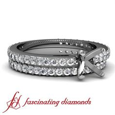 Diamond Cathedral Engagement Wedding Rings Pave Set