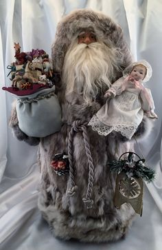 Winter Wonderland Santa Claus Doll - pinned by pin4etsy.com Christmas Elf Doll, Father Christmas, Christmas Love, Christmas Stockings, Christmas Crafts, Christmas Decorations, Christmas Mantles, Christmas Trees, Xmas