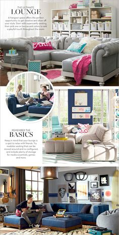 the ultimate lounge. I love this furniture. It would be great for a family recreation space, or a teen room.