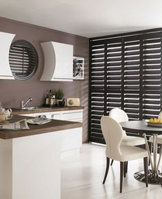 23 Perfect Extra Wide Venetian And Roman Blinds In The Interior inside dimensions 1200 X 1047 Extra Wide Slat Venetian Blinds - Vertical blinds can make Kitchen Shutters, Interior Window Shutters, Black Shutters, Wood Shutters, Interior Design Degree, Best Interior Design Websites, Blinds For Windows, Window Blinds, Window Coverings