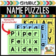 Editable Name Puzzles - Pre-K Pages Kindergarten Names, Preschool Names, Name Activities, Kindergarten Classroom, Classroom Ideas, Preschool Ideas, Jigsaw Puzzles For Kids, Puzzles For Toddlers, Wooden Puzzles