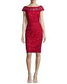 Filigree Embroidered Lace Cocktail Dress, Flame by Tadashi Shoji at Neiman Marcus.