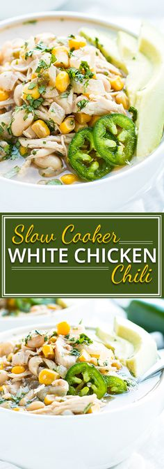 Dairy-Free Slow Cooker White Chicken Chili | A comforting and cozy recipe for dairy-free slow cooker white chicken chili that will keep you warm and healthy during these cold winter months!  This Crock-Pot chili recipe is gluten-free, soy-free, low-fat, and can easily be made dairy-free.