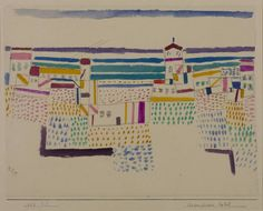 Seaside Resort in the South of France (1927) | Paul Klee | Graphite, crayon and watercolour on paper on board | Collection: Tate